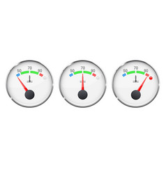 Car engine temperature gauge cold normal and vector