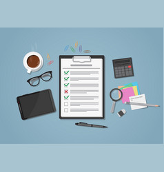 checklist on workplace vector image vector image