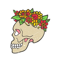 Day of dead skull with marigold vector image
