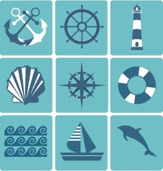 Flat icons collection Marine set vector image