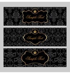 Golden Labels on Damask Background vector image vector image