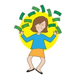 Happy lady and money vector