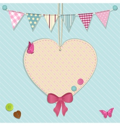heart decoration and bunting background vector image