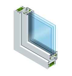 Isometric cross-section diagram of a triple glazed vector