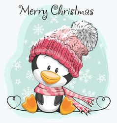 Cute cartoon penguin in a hat vector
