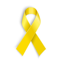 Yellow awareness ribbon on white background vector image