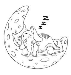 elephant he sleeps on the moon cartoon vector image