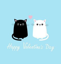 happy valentines day black white cute cat sitting vector image vector image
