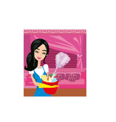 Housewife cleaning vector image