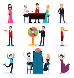 people in casino set vector image