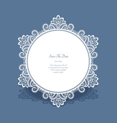 round lace frame save the date card vector image