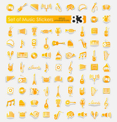 Set of music stickers vector