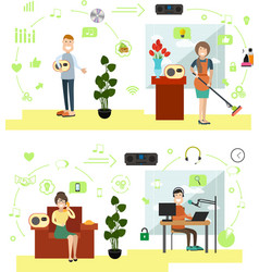 set of radio people symbols icons in flat vector image