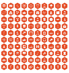 100 conference icons hexagon orange vector image