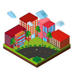 3d design for buildings on the corner vector image