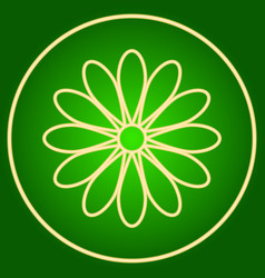 A flower in a neon circle easter vector