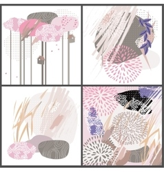 Abstract floral elements paper japan collage vector