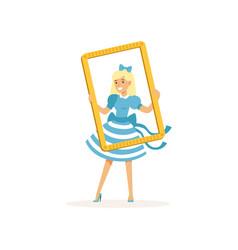 Actress in blue retro dress looking through frame vector