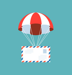 Airmail envelope with parachute vector