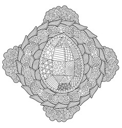 beautiful adult coloring book page with egg vector image