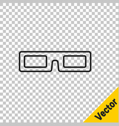 black line cinema glasses icon isolated on vector image