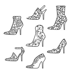 Black silhouettes womans high heel shoes vector