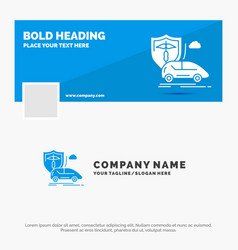 Blue business logo template for car hand vector