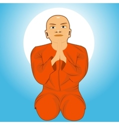 buddhist monk meditating vector image