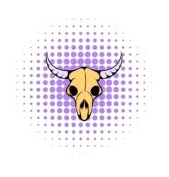 Buffalo skull icon comics style vector