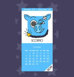Calendar for october 2019 vector