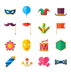 Celebration carnival set flat icons and objects vector