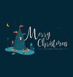christmas tree with people at night greeting card vector image