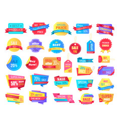 Collection of sale labels and banners on white vector