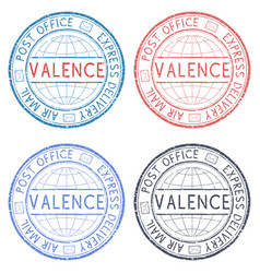 Colored postmarks valence italy express delivery vector