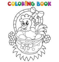 coloring book with easter theme 8 vector image