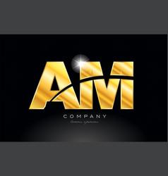 Combination letter am a m gold golden alphabet vector