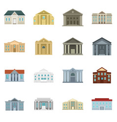 Courthouse icons set flat style vector