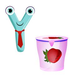 Cute kids cartoon alphabet letter y with vector