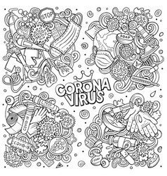 doodles cartoon set coronavirus objects vector image