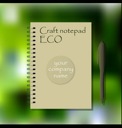 Ecology spiral bound note craft paper notepad vector