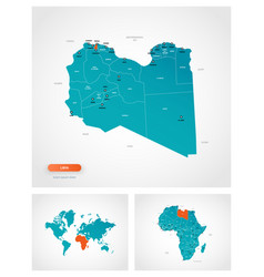 Editable template map libya with marks vector