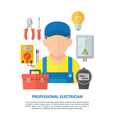 Electrician with electrical equipment and tools vector