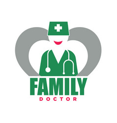 family doctor service promotional emblem with vector image