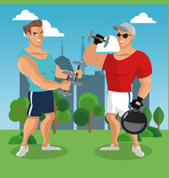 fitness mens at park vector image