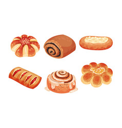 Flour confectionery or pastry with sweet wheat bun vector