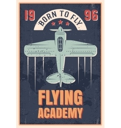 Flying academy retro style poster vector