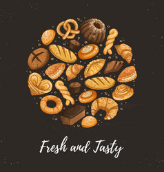 fresh bread circle poster vector image
