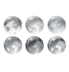 Gray globe icons vector