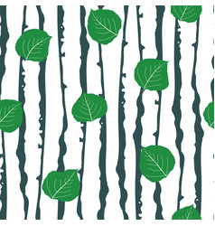 Green aspen leaf forest seamless pattern vector