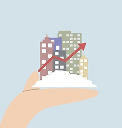 Growth city in human hand vector image